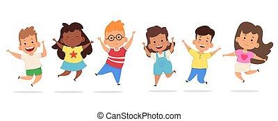 heureux, sauter, ensemble, gosses