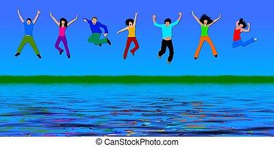 heureux, sauter, gens arrière-plan