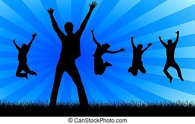 heureux, sauter, gens