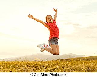 heureux, sauter, girl, champ
