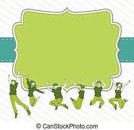 heureux, sauter, groupe, coloré, gens