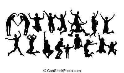 heureux, sauter personnes, silhouettes