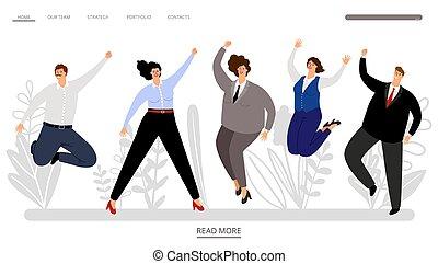heureux, sauter, professionnels