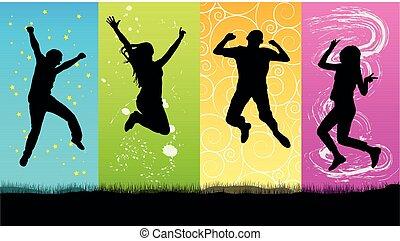 heureux, sauter, silhouette, gens