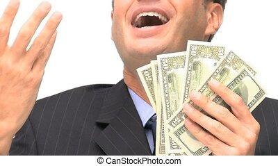 heureux, sien, argent, homme affaires