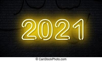 heureux, signe, 2021, néon, nouveau, concept, année, fait ...