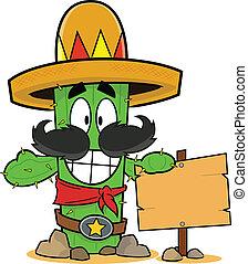 heureux, signe, cactus, dessin animé