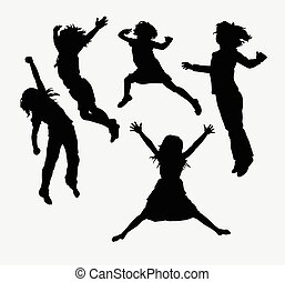 heureux, silhouette, enfants, activité