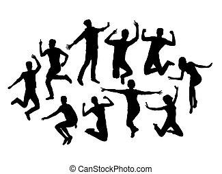 heureux, silhouettes, activité, gens