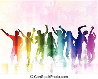 heureux, silhouettes, danse, gens