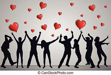 heureux, silhouettes, danser ensemble, gens