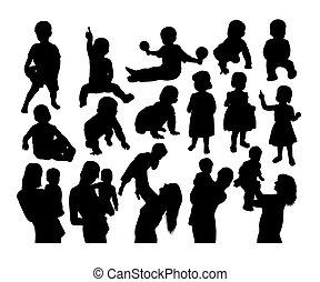 heureux, silhouettes, fils, activité, mère