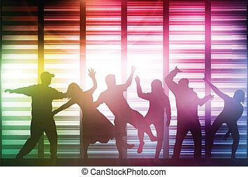 heureux, silhouettes, gens, danse