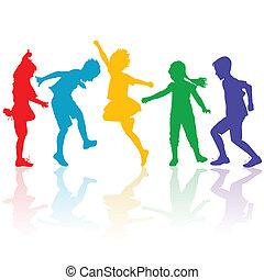 heureux, silhouettes, jouer, coloré, enfants