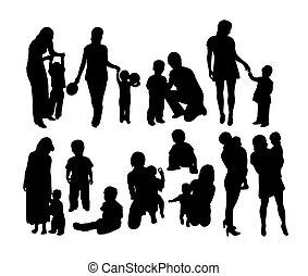 heureux, silhouettes, mère, famille, fils
