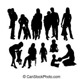 heureux, silhouettes, mère, fils
