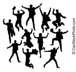 heureux, silhouettes, sauter, business, activité