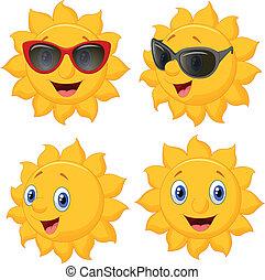 heureux, soleil, dessin animé, caractère