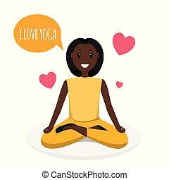 heureux, sport, programme, yoga, formation, femme