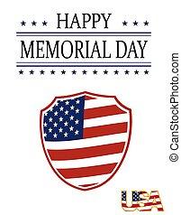 heureux, style, uni, card., fête, flag., national, postcard., illustration, jour, etats, nous, mémoire, vacances, honneur, bouclier