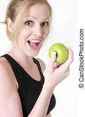 heureux, sur, femme, pomme, manger