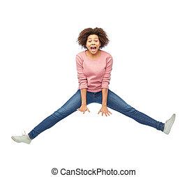 heureux, sur, sauter, américain, blanc, africaine