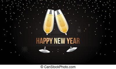 heureux, tasses, nouvel an, grillage, animation
