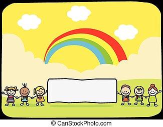 heureux, tenue, enfants, bannière