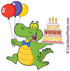 heureux, tenue, gâteau, crocodile