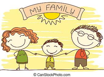 heureux, text., white., famille, vecteur, parents