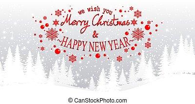 heureux, texte, colline, noël, nouveau, pin, paysage, flocons neige, blanc, arbre hiver, joyeux, année, nous, souhait