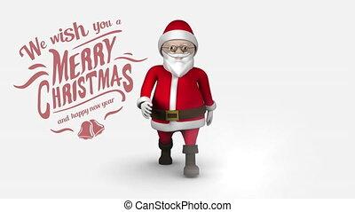 heureux, texte, joyeux noël, année, nouveau, marche, santa