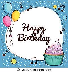 heureux, thème, anniversaire, ballons, petit gâteau