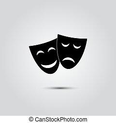 heureux, théâtre, masques, triste