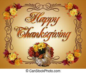 heureux, thanksgiving, carte