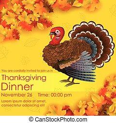 heureux, thanksgiving, carte, invitation