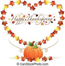 heureux, thanksgiving, coeur, et, pumpki