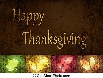 heureux, thanksgiving, grunge, feuilles