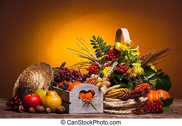 heureux, thanksgiving, jour