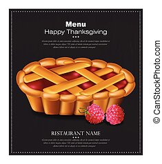 heureux, thanksgiving, tarte, carte, vector., 3d, détaillé, framboise, dessert, illustrations
