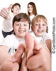 heureux, thumb., famille, jeter, dehors