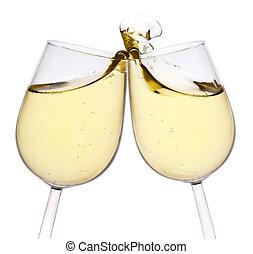 heureux, toast, isolé, arrière-plan., year., joyeux, nouveau...