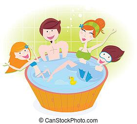 heureux, tourbillon, famille, bain