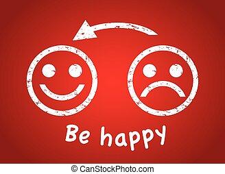 heureux, triste, figure
