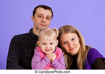 heureux, trois, famille, gens