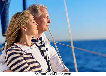 heureux, vacances, couple, mûrir