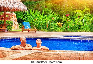 heureux, vacances, couple
