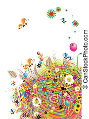 heureux, vacances, rigolote, carte, à, ballons