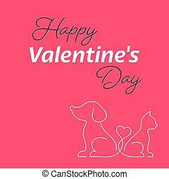 heureux, valentin, chien, carte, chat