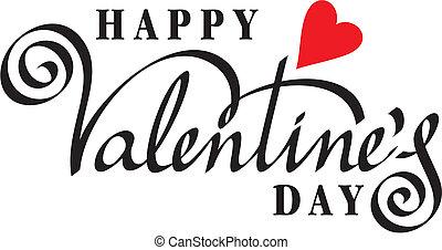 heureux, valentin, jour, main, lettrage